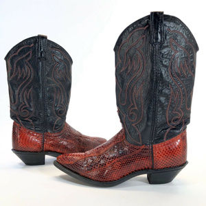 Women's Acme Red Snake Skin Leather Western Boots